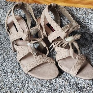 Tan suede Betsey Johnson sandals